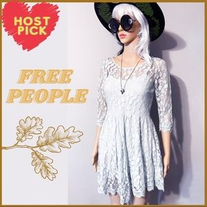 Free people Floral Pale Green Mint Lace Dress